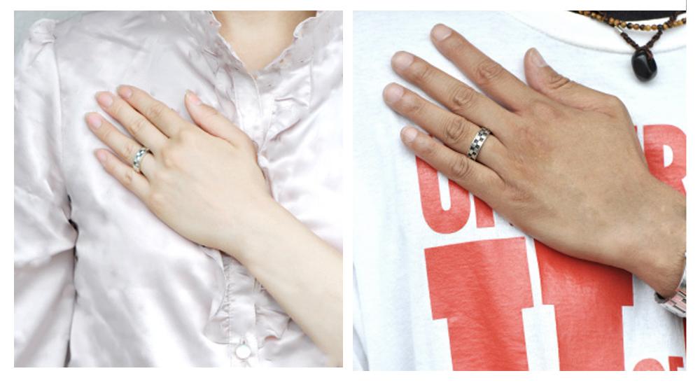 LOVERS SCENE ラバーズシーン チェック柄ダイヤモンド付きペアリング